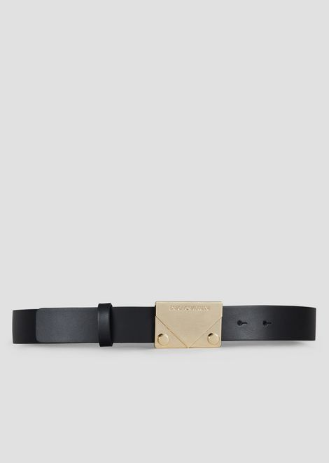 Leather belt with metal logo buckle