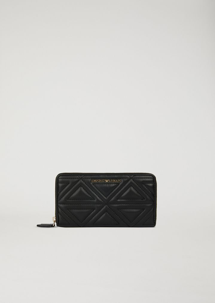 022432bead8e EMPORIO ARMANI Full zip wallet in quilted faux leather Wallet Woman f