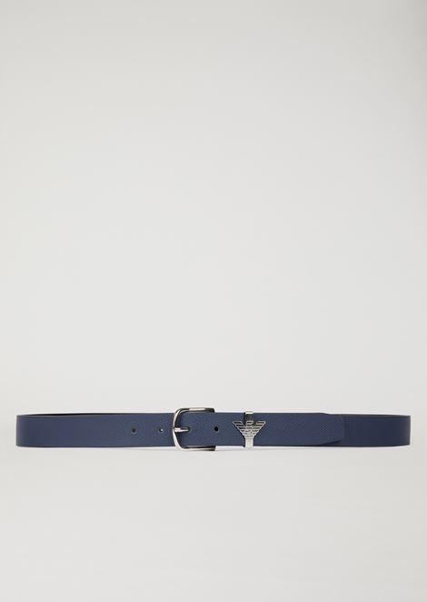 Cintura in pelle con passante a forma di aquila