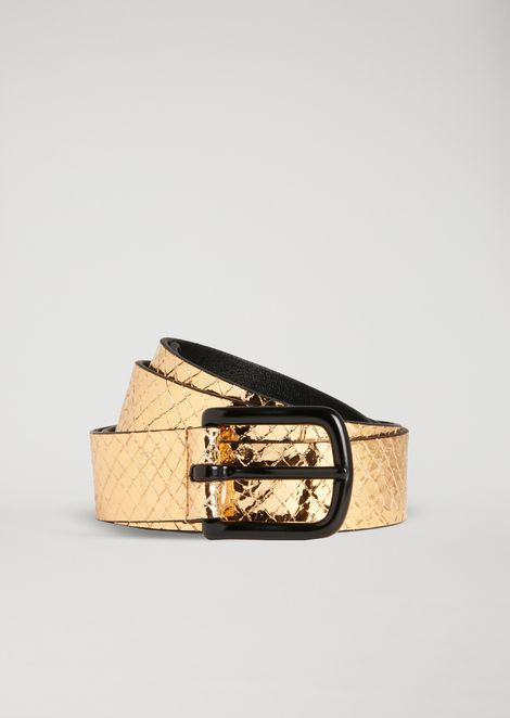 Belt in python print laminated leather