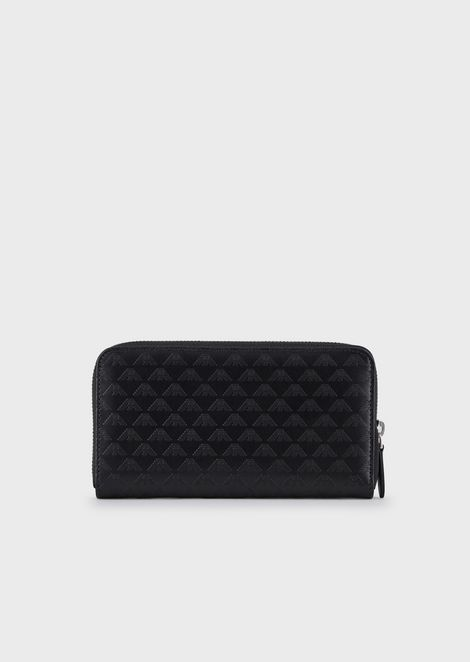 Long wallet in leather with all-over logo
