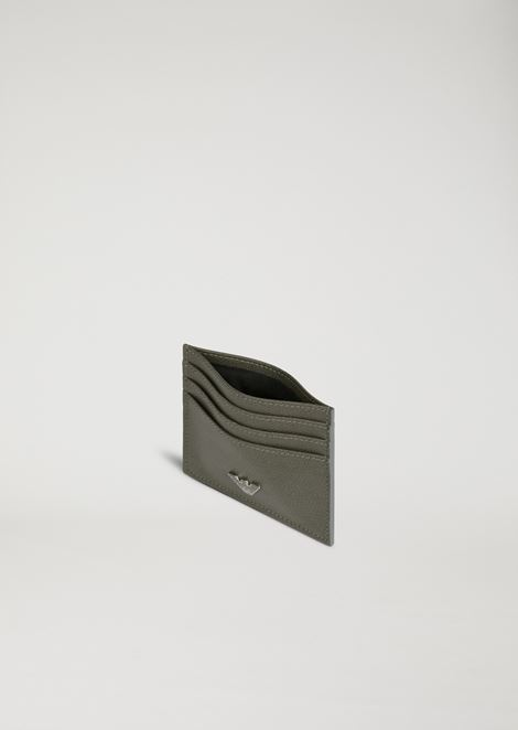 Card holder in boarded print leather