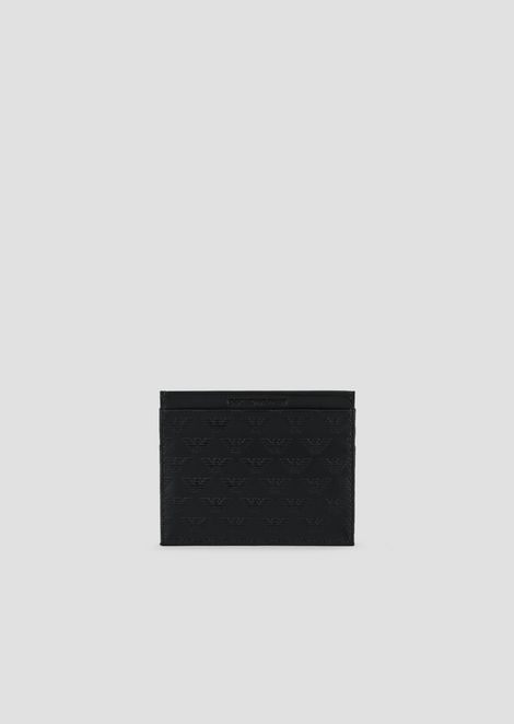 Leather cardholder with all-over logo print