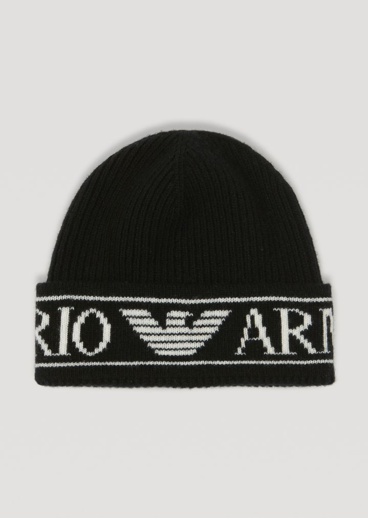 14f2d8b2ab924 Ribbed knit beanie with Emporio Armani logo