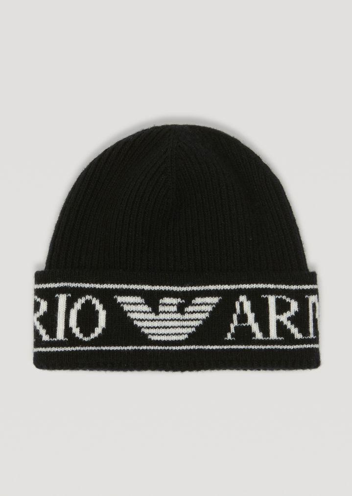 8941f180191e Bonnet en tricot côtelé avec logo Emporio Armani   Femme   Emporio Armani