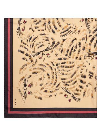 Marni Scarf in beige printed silk Woman