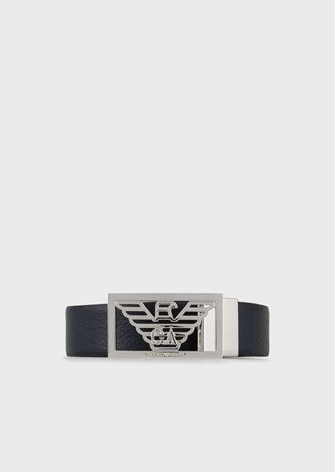 Reversible leather belt with logo buckle 11bf8b47000e2