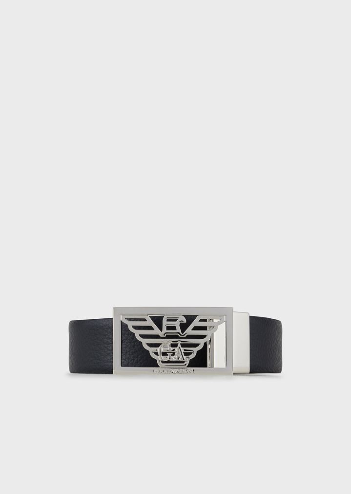 0a3fd0427d95 Reversible leather belt with logo buckle | Man | Emporio Armani