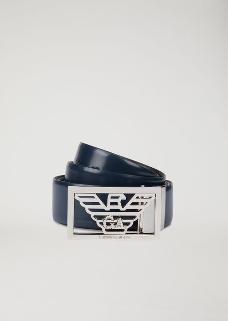 9dd3ea814605 Reversible leather belt with logo buckle