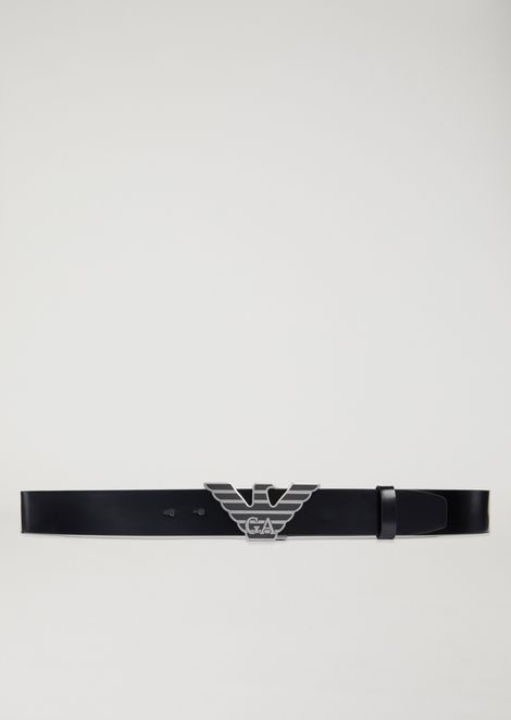 Leather belt with eagle buckle