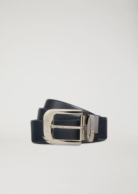 Cinturón reversible de piel abatanada y lisa