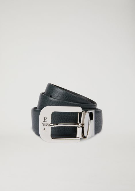 Reversible belt in tumbled leather and smooth leather