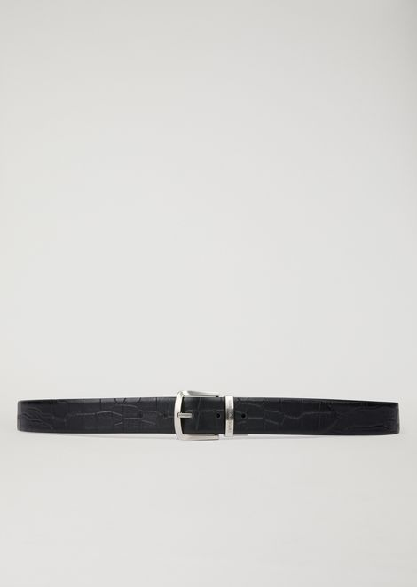 Reversible smooth and croc print leather belt