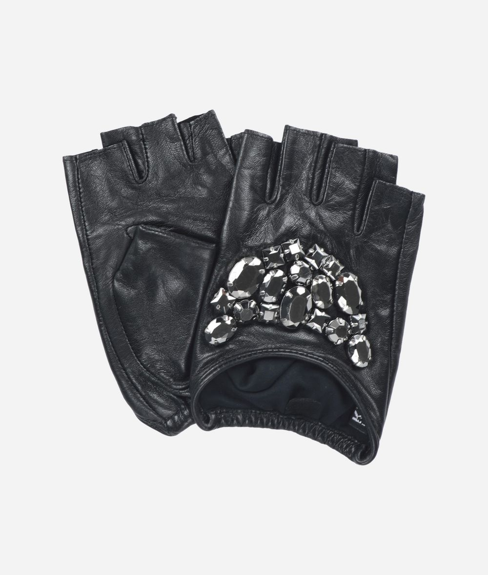 KARL LAGERFELD Leather Gloves with Stones Glove Woman f