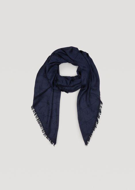 Jacquard scarf with fringe