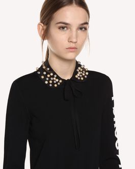 REDValentino Beaded crêpe de chine collar