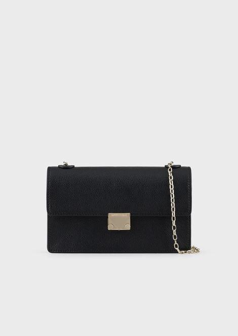 Mini shoulder bag in Madras-print leather