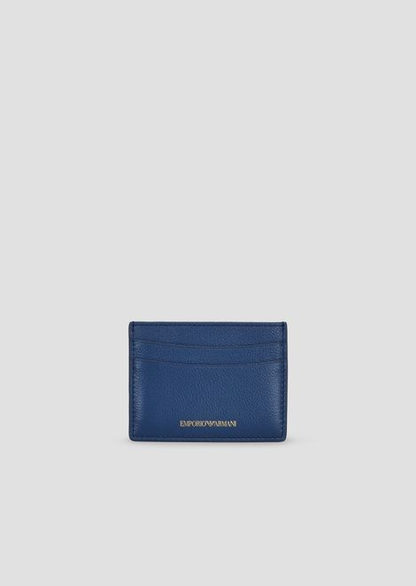 Madras-print leather card holder