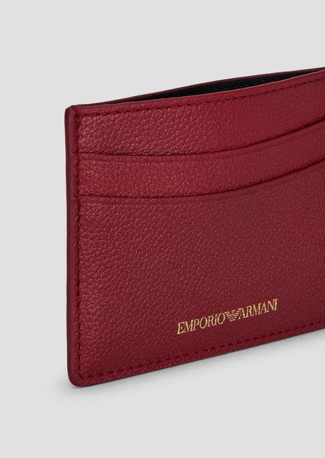 Madras-print leather card holder