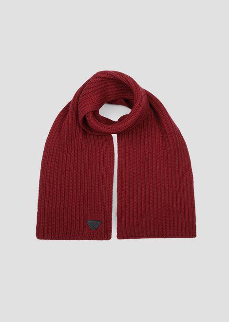 Écharpe bords côtelés en pure laine avec logo Emporio Armani e7061354215