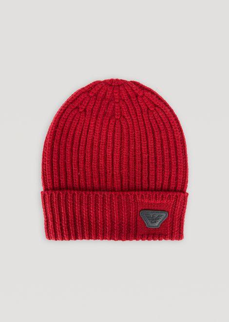 Bonnet en pure laine avec revers et logo Emporio Armani a9613f42c62
