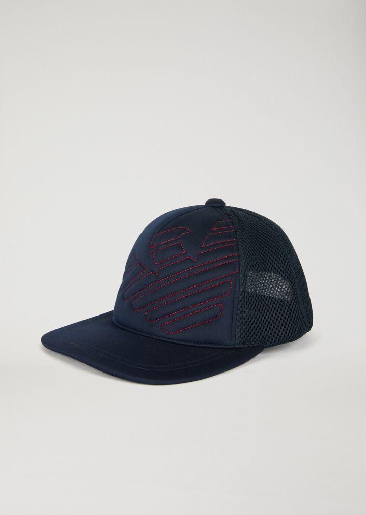 Baseball cap with flat peak and Emporio Armani eagle embroidery ... 5eb11a3997c