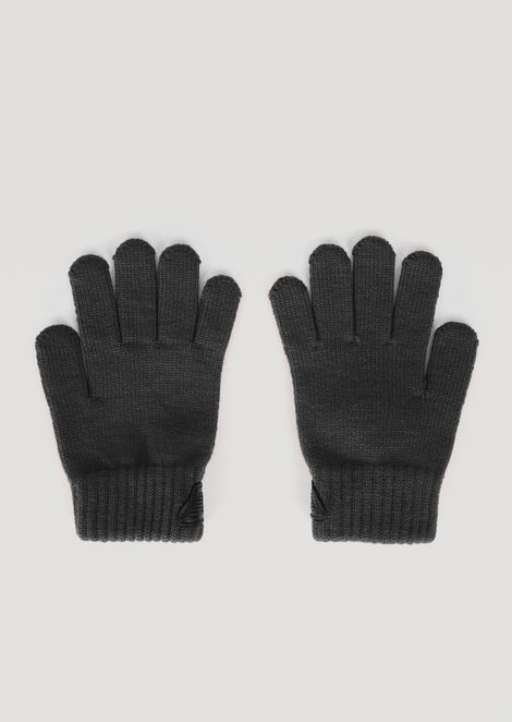 Pure wool gloves with ribbed cuffs and Emporio Armani logo