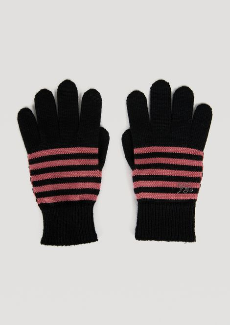 Knitted gloves with rhinestone EA logo