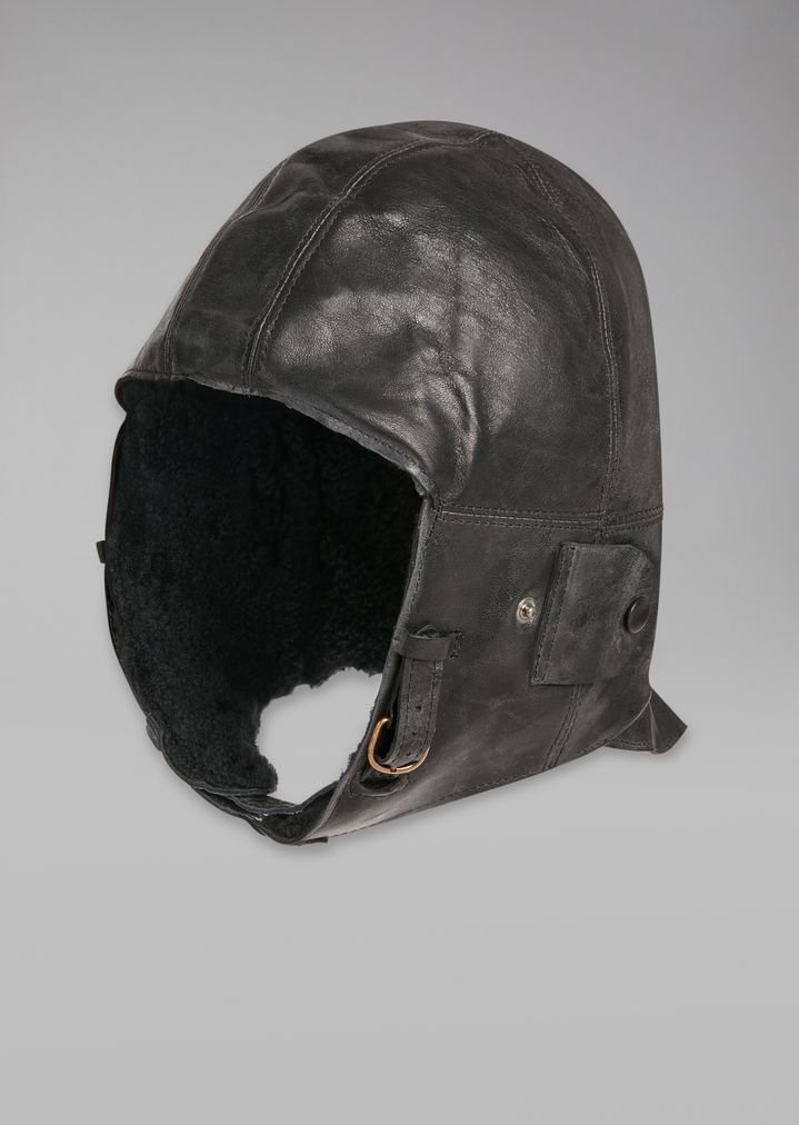 8618b0386a9 Vintage-effect leather peaked cap with faux-fur insert