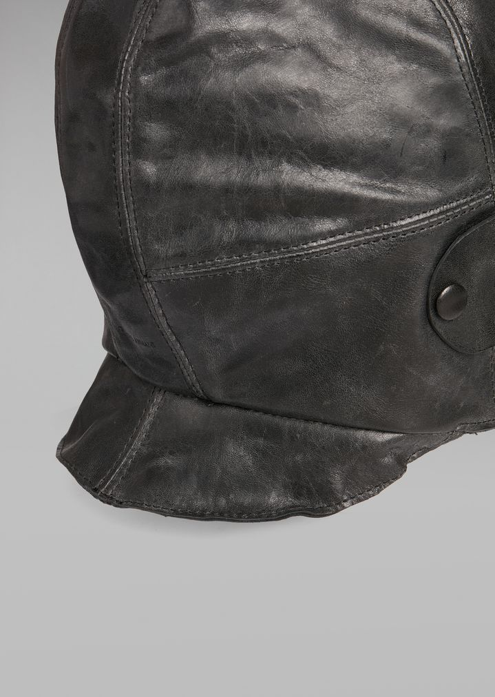 GIORGIO ARMANI Vintage-effect leather peaked cap with faux-fur insert Fedora Hat Man r