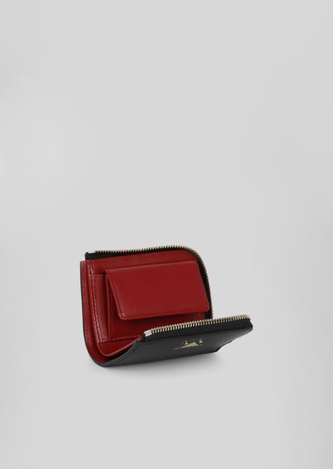 Small leather wallet with zip and triangle detail