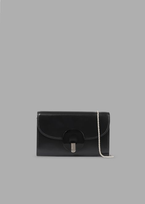 Wallet Mini Bag In Leather With Chain And Plexiglas Closure
