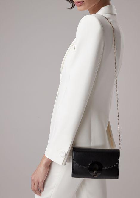 Mini-borsa a portafoglio in pelle con catenella e chiusura in plexi