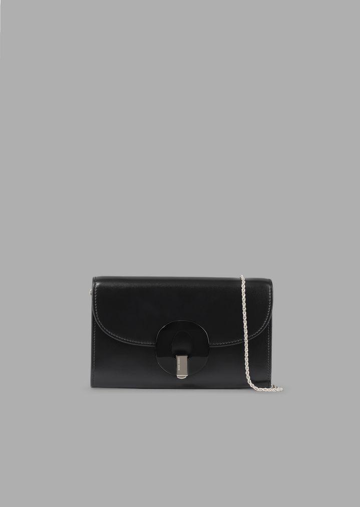 Mini sac portefeuille en cuir à chaînette avec fermoir en plexiglas   Femme    Giorgio Armani e3613253e07