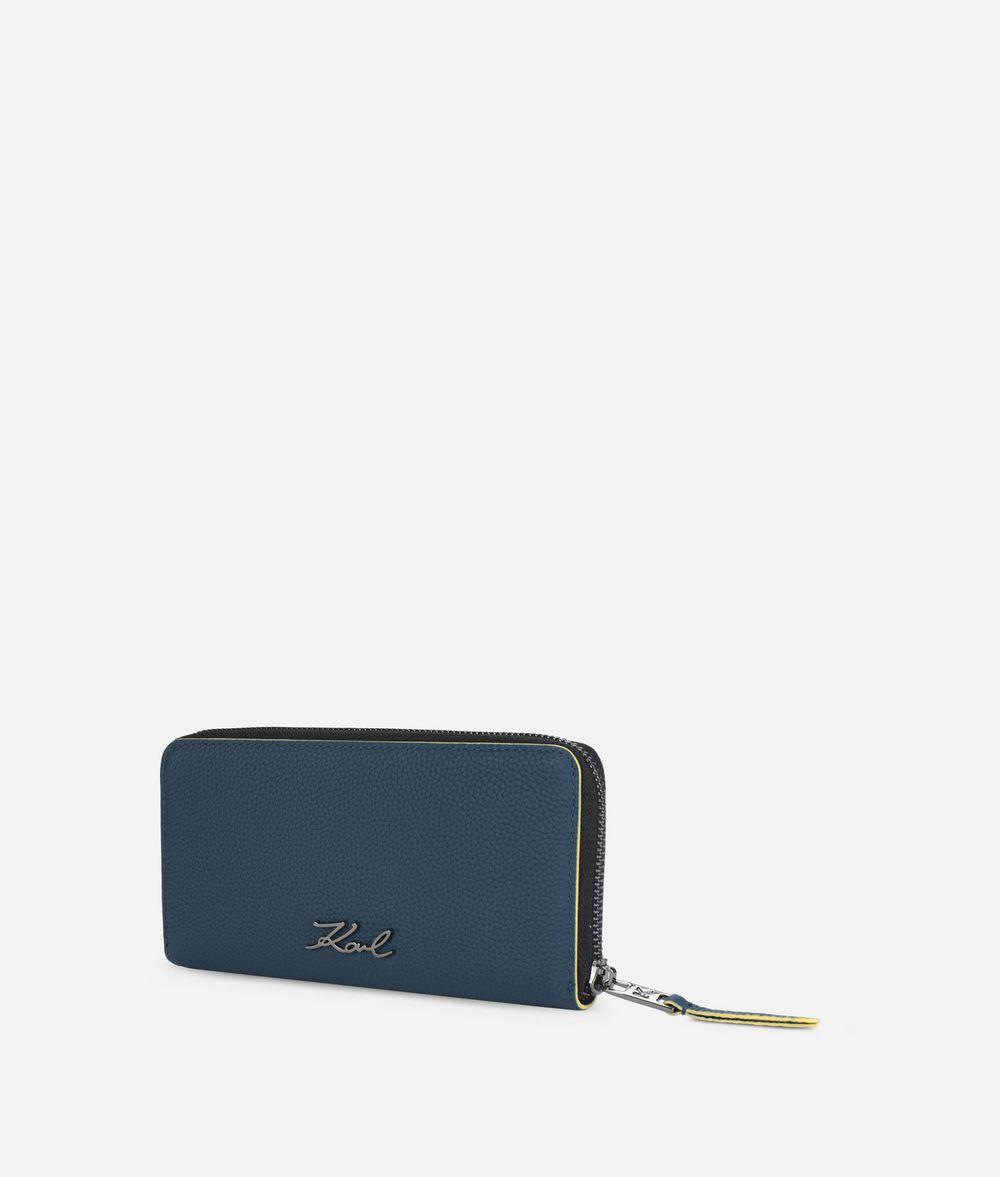 KARL LAGERFELD K/Karry All Leather Zipper Around Wallet Wallet Woman d