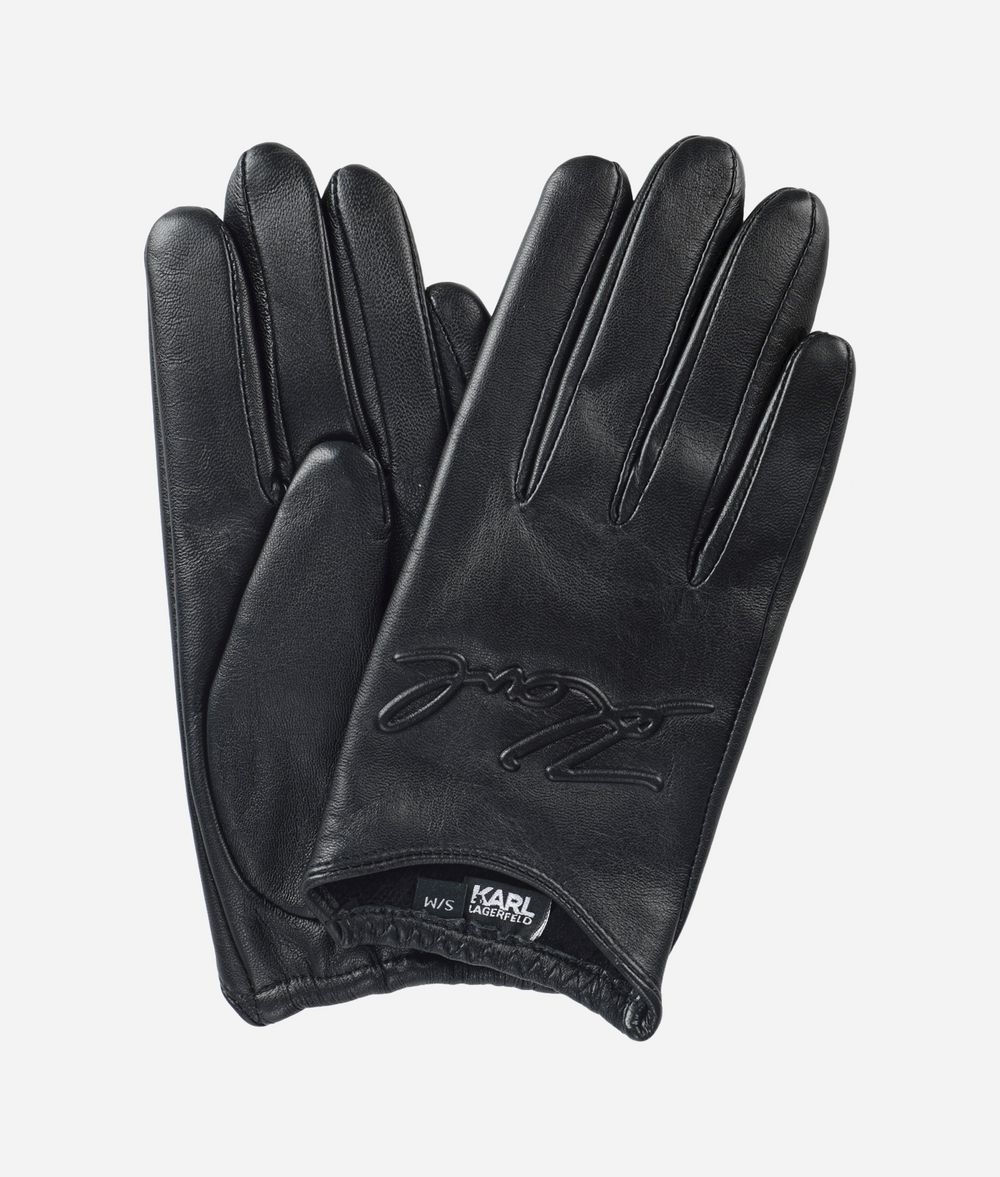 KARL LAGERFELD K/Signature Leather Gloves Glove Woman f