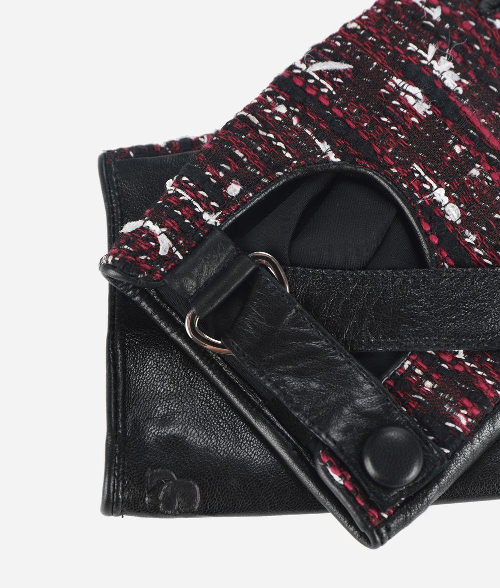 KARL LAGERFELD K/Tweed Leather Gloves Glove Woman r