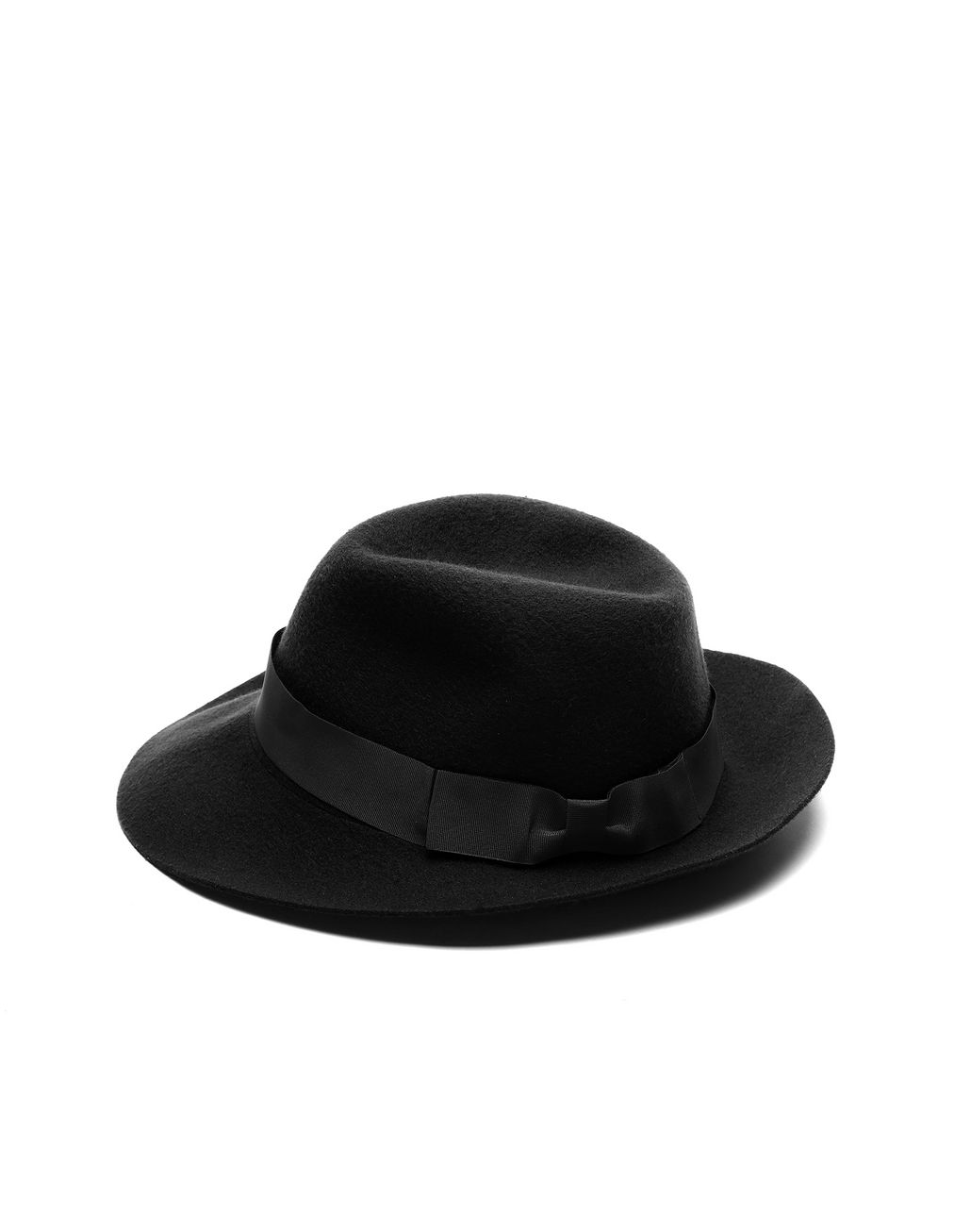 BRIONI Black Foldable Fedora Hats & Gloves Man f