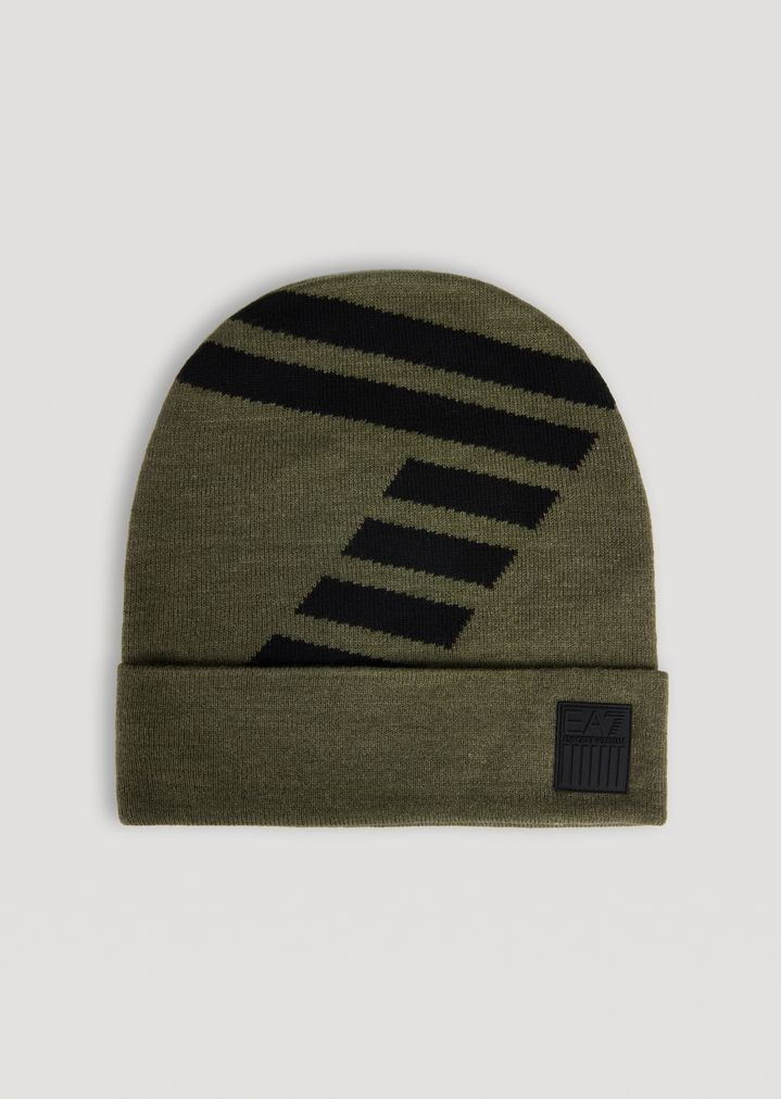 Berretto in maglia con logo EA7 a contrasto  be4d431c3dbe