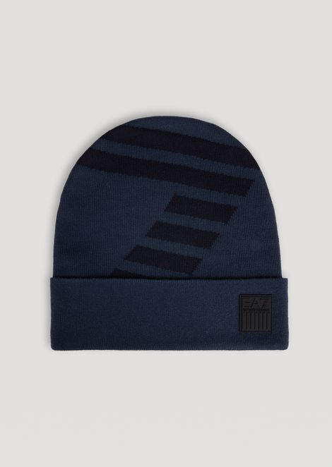 Knitted hat with contrast EA7 logo