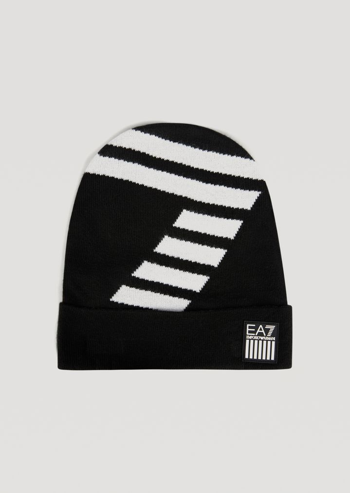Knitted hat with contrast EA7 logo  632d45a6e36
