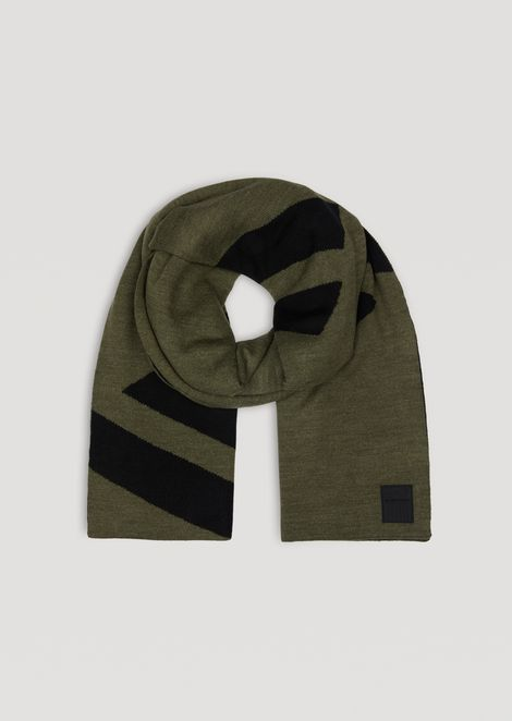 Knitted scarf with contrast EA7 logo