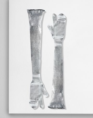 MM6 MAISON MARGIELA Gloves Woman Silver coated ribbed knit long gloves f