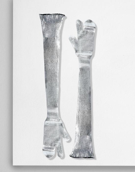 MM6 MAISON MARGIELA Silver coated ribbed knit long gloves Gloves [*** pickupInStoreShipping_info ***] f