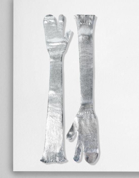 MM6 MAISON MARGIELA Silver coated ribbed knit long gloves Gloves [*** pickupInStoreShipping_info ***] r