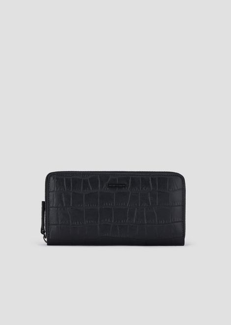 Crocodile embossed leather horizontal wallet with zip
