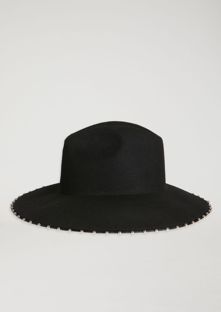 8c86a03ab5d Wide-brim wool broadcloth hat with small studs