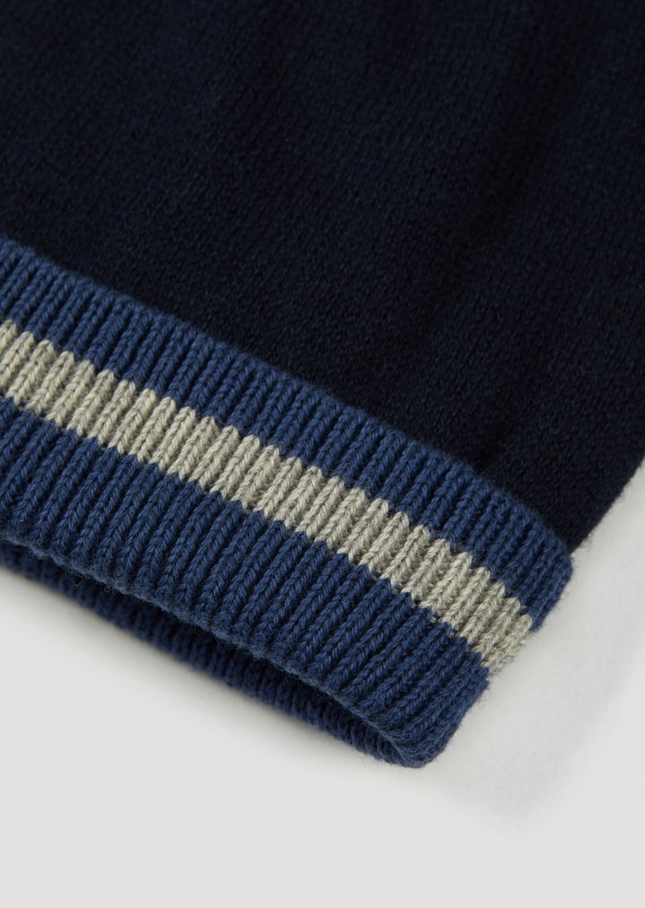 8aa66f6156a ... Cotton and wool hat with contrasting hem. EMPORIO ARMANI