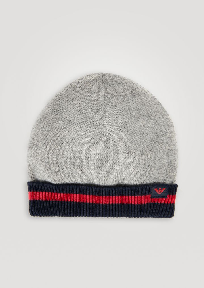 9daf997243b Cotton and wool hat with contrasting hem