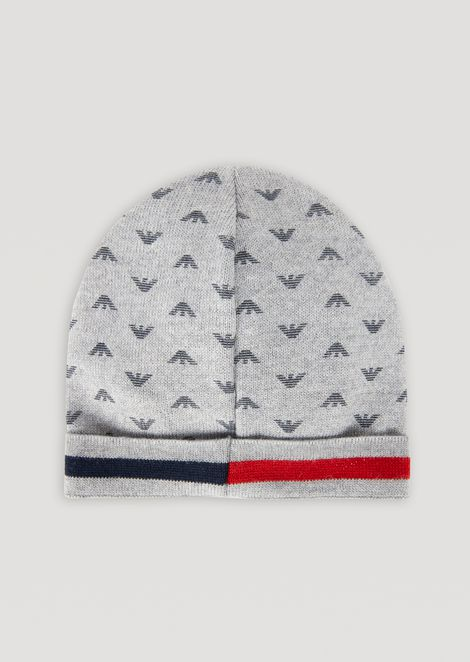 74342f6e41c Jacquard knit hat with all-over logo. EMPORIO ARMANI ...